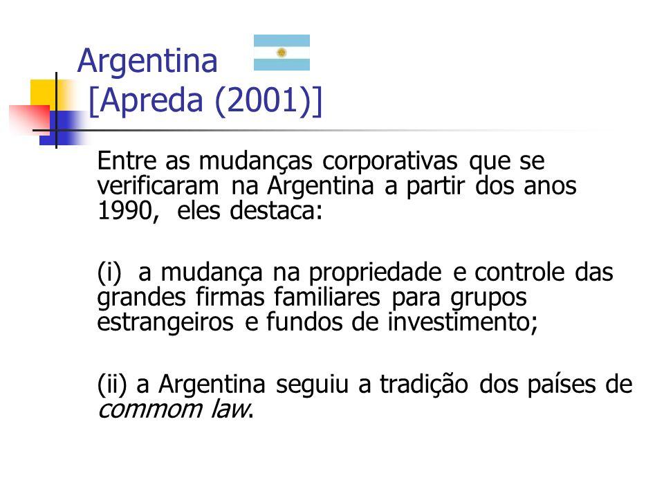 Argentina [Apreda (2001)] Entre as mudanças corporativas que se verificaram na Argentina a partir dos anos 1990, eles destaca: